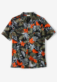KS Island™ Woven Camp Shirt, BLACK FLORAL
