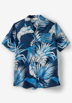 KS Island™ Woven Camp Shirt, NAVY PALM