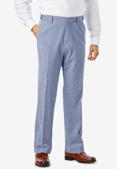 KS Island™ Linen Blend Plain Front Dress Pants, NAVY STRIPE SEERSUCKER