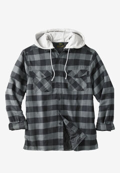 Removable Hood Shirt Jacket by Boulder Creek®, BLACK BUFFALO CHECK