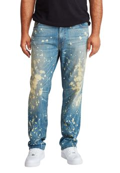 MVP Collections® Paint Wash Straight Leg Jeans,