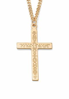 "Gold Filled Lord's Prayer Cross Pendant with 24"" Chain,"
