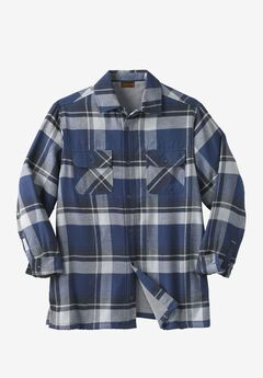 Fleece-Lined Flannel Shirt Jacket by Boulder Creek®, NAVY PLAID