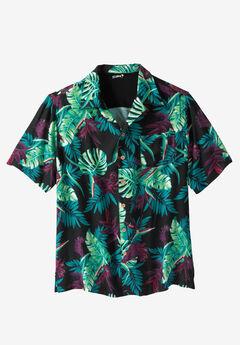 Island Print Rayon Shirt by KS Island™, RUMBERRY ISLAND