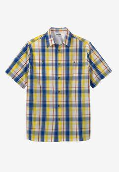 Short-Sleeve Plaid Sport Shirt, WHITE PLAID