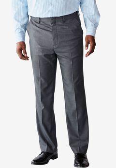 Easy-Care Classic Fit Expandable Waist Plain Front Dress Pants, GREY