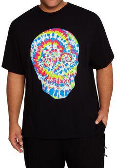 MVP Collections® Tie-Dye Rhinestone Skull Print T-Shirt,