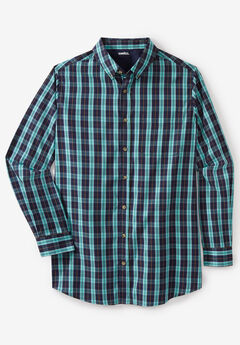 Wrinkle Resistant Long-Sleeve Sport Shirt, TIDAL GREEN PLAID