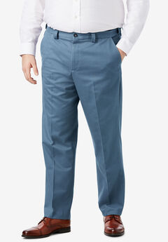 Classic Fit Wrinkle-Free Expandable Waist Plain Front Pants,