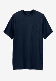 Lightweight Longer-Length Crewneck Pocket T-Shirt, NAVY