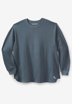Wicking Fleece Crewneck Sweatshirt by KS Sport™, HEATHER DARK SLATE