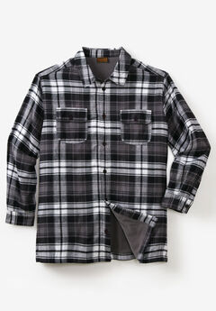 Fleece-Lined Flannel Shirt Jacket by Boulder Creek®, BLACK PLAID