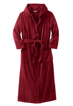 Terry Velour Hooded Maxi Robe, RICH BURGUNDY