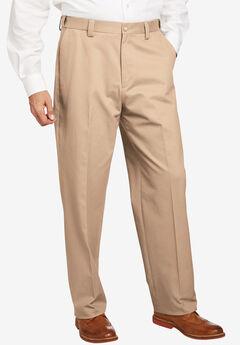 Classic Fit Wrinkle-Free Expandable Waist Plain Front Pants, DARK KHAKI
