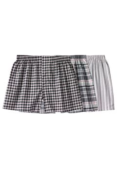 Woven Boxers 3-Pack, ASSORTED BLACK PATTERN