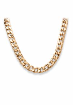 "Gold Tone Curb Link 24"" Chain Necklace,"