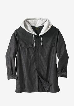 Removable Hood Shirt Jacket by Boulder Creek®, BLACK DENIM