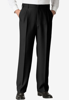 Easy-Care Classic Fit Expandable Waist Double-Pleat Front Dress Pants, VERY BLACK
