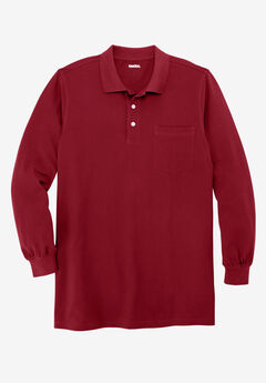 Longer-Length Long-Sleeve Piqué Polo, RICH BURGUNDY