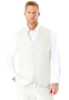 Linen Blend 5 Button Suit Vest by KS Island™, WHITE