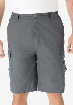 "Cotton Canvas Side-Elastic Waist 10"" Cargo Shorts, STEEL"