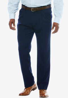 KS Signature No Hassle® Classic Fit Expandable Waist Double-Pleat Dress Pants, NAVY