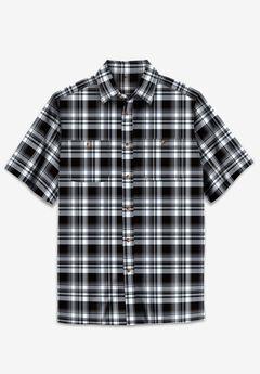 Short-Sleeve Plaid Sport Shirt, BLACK PLAID