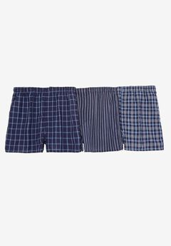 Assorted 3-Pack Boxers, NAVY PLAID