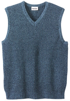Shaker Knit V-Neck Sweater Vest, NAVY MARL