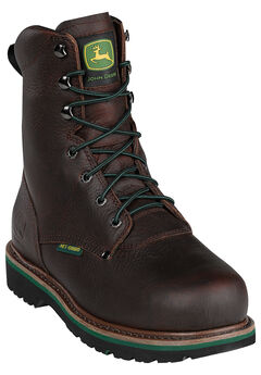 "John Deere 8"" Steel Toe Lace Boot,"