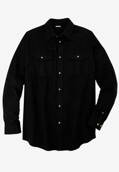 Solid Double-Brushed Flannel Shirt, BLACK