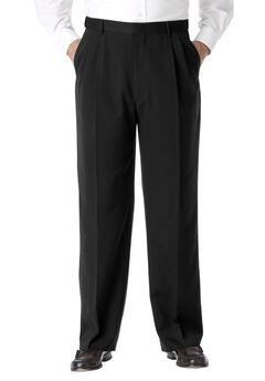 KS Signature No Hassle® Classic Fit Expandable Waist Double-Pleat Dress Pants, BLACK