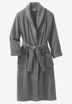 Terry Bathrobe with Pockets, STEEL