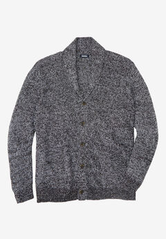 Shaker Knit Shawl-Collar Cardigan Sweater, BLACK MARL