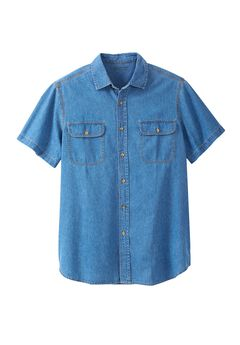 Short-Sleeve Renegade Shirt by Boulder Creek®, BLEACH DENIM