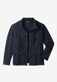 Sweater Fleece Multi-Pocket Jacket, SLATE BLUE MARL