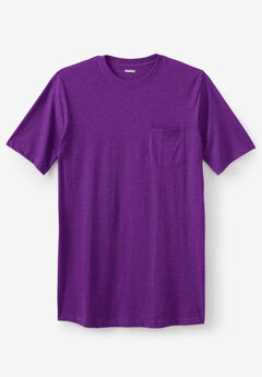 Shrink-Less™ Lightweight Longer-Length Crewneck Pocket T-Shirt, HEATHER DARK PURPLE