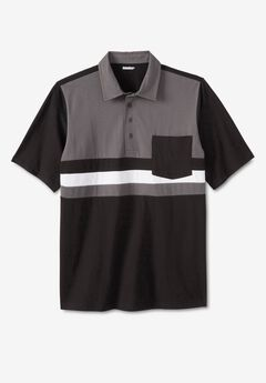 Lightweight Pocket Golf Polo Shirt, BLACK COLORBLOCK