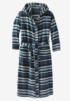 Terry Velour Hooded Maxi Robe,