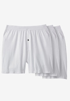 Cotton Boxers 3-Pack, WHITE
