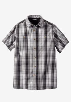 Short-Sleeve Plaid Sport Shirt, BLACK MULTI PLAID