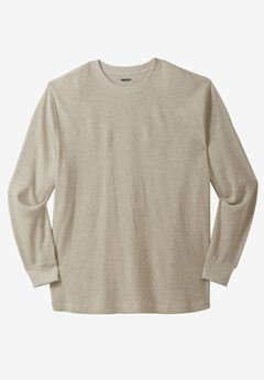 Waffle Knit Thermal Crewneck Tee, HEATHER OATMEAL