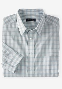Classic Fit Broadcloth Flex Long-Sleeve Dress Shirt by KS Signature, SKY BLUE PLAID