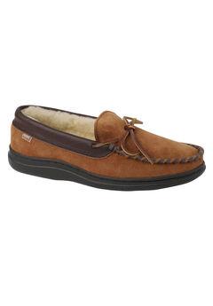 L.B. Evans Atlin Boa Lined Moccasin Slippers, SADDLE