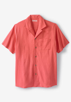 Gauze Cotton Camp Shirt, MELON