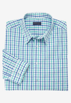 Modern Fit Long-Sleeve Broadcloth Flex Dress Shirt by KS Signature, BLUE GRID CHECK