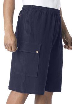 Full Elastic Waist Gauze Cargo Shorts, NAVY