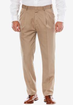 KS Signature No Hassle® Classic Fit Expandable Waist Double-Pleat Dress Pants, TAUPE