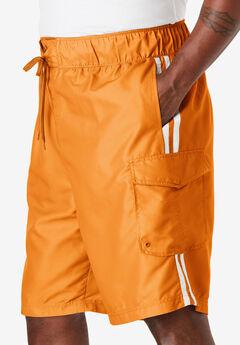 Double Stripe Board Shorts, FLAME ORANGE