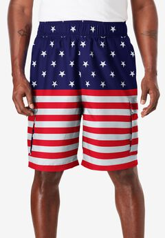 KS Island™ Printed Cargo Swim Shorts, STARS AND STRIPES